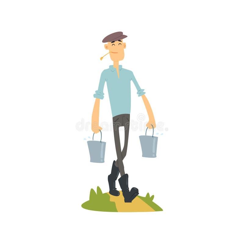 Homem que traz cubetas da água ilustração do vetor
