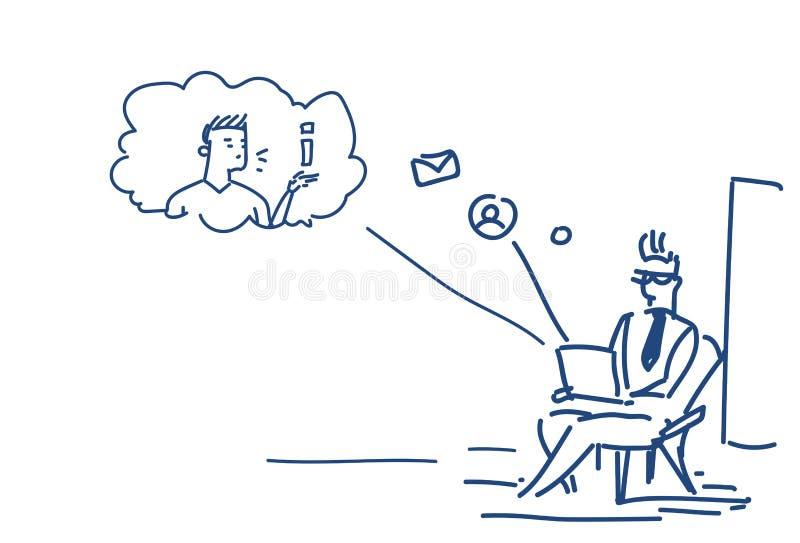Homem que usa a garatuja em linha do esboço da aplicação do mensageiro do bate-papo do conceito de uma comunicação da pose do ass ilustração stock