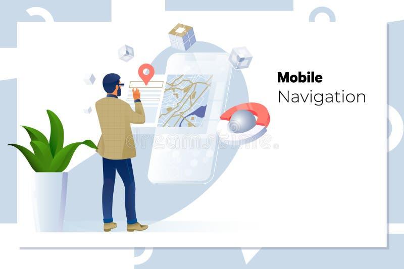 Homem que usa a navega??o app no telefone celular negócio, tecnologia, navegação, lugar e conceito dos povos ilustração royalty free