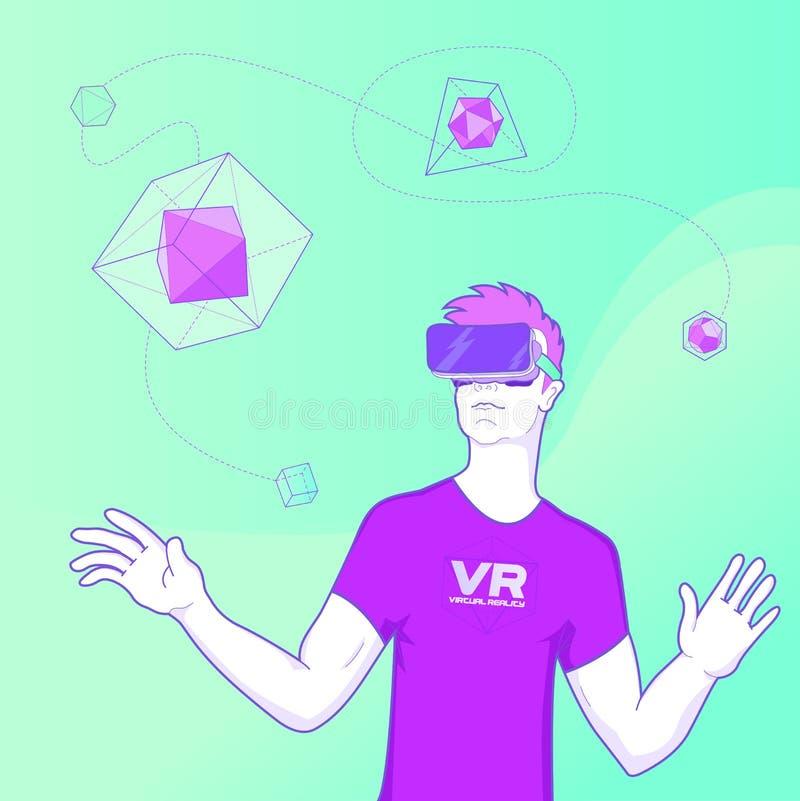 Homem que usa o conceito dos vidros da realidade virtual ilustração royalty free