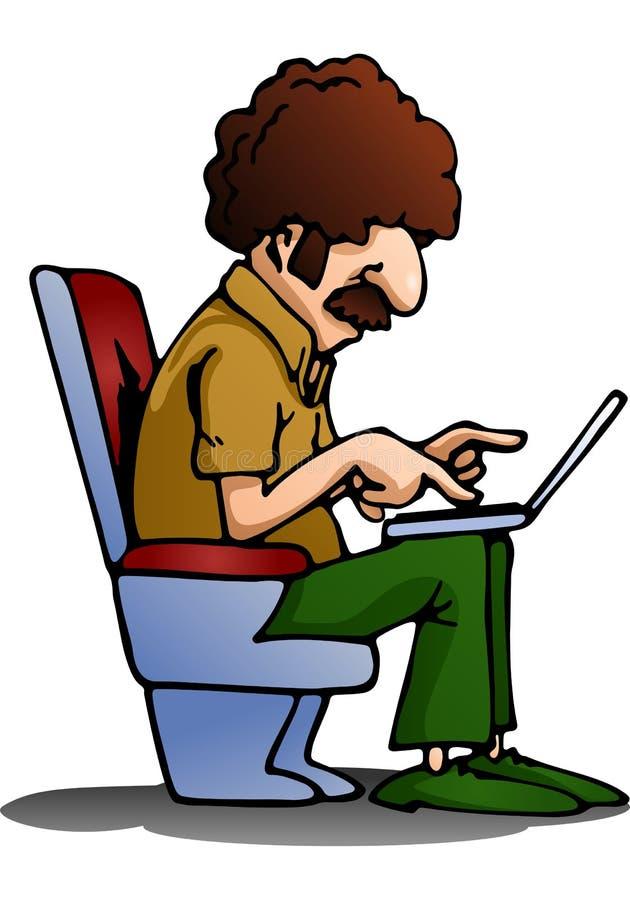 Homem que usa o portátil no isolado ilustração royalty free
