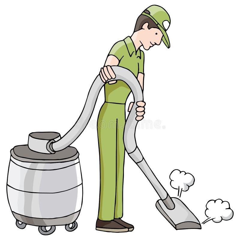 Homem que usa o vácuo seco molhado ilustração do vetor