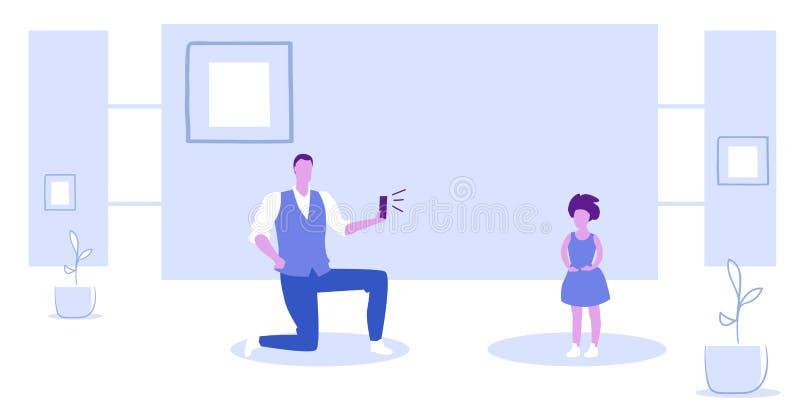 Homem que usa a posição do pai da câmera do smartphone no joelho que toma a foto do esboço do conceito do tiro do modelo da menin ilustração royalty free