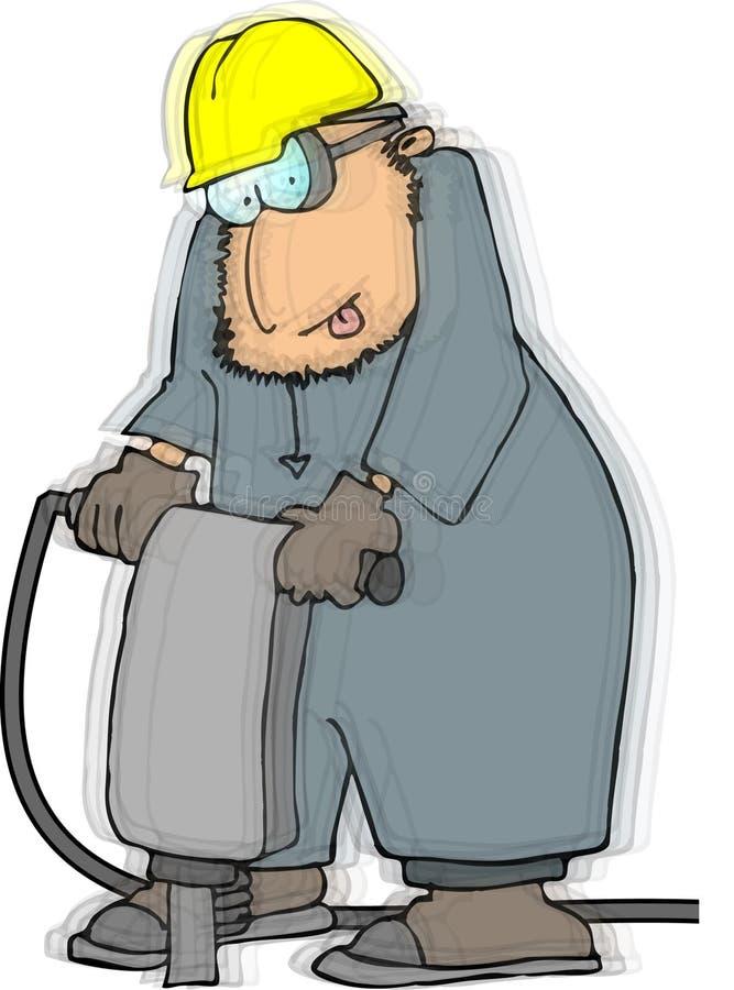 Homem que usa um jackhammer ilustração do vetor