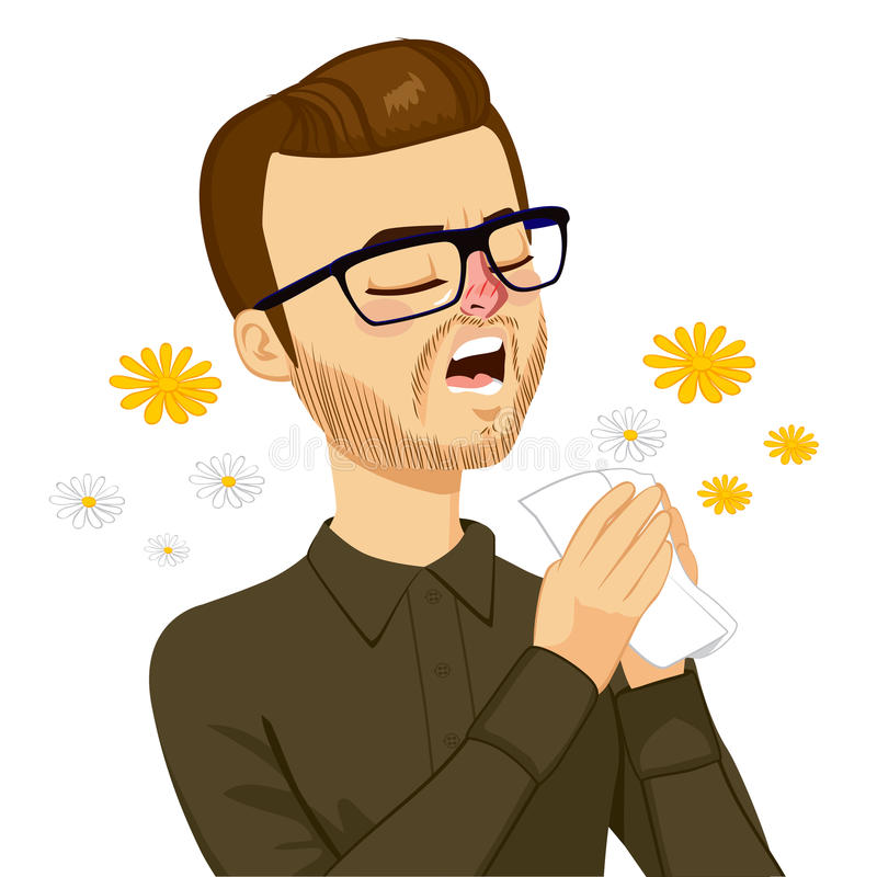 Homem que vai espirrar ilustração stock
