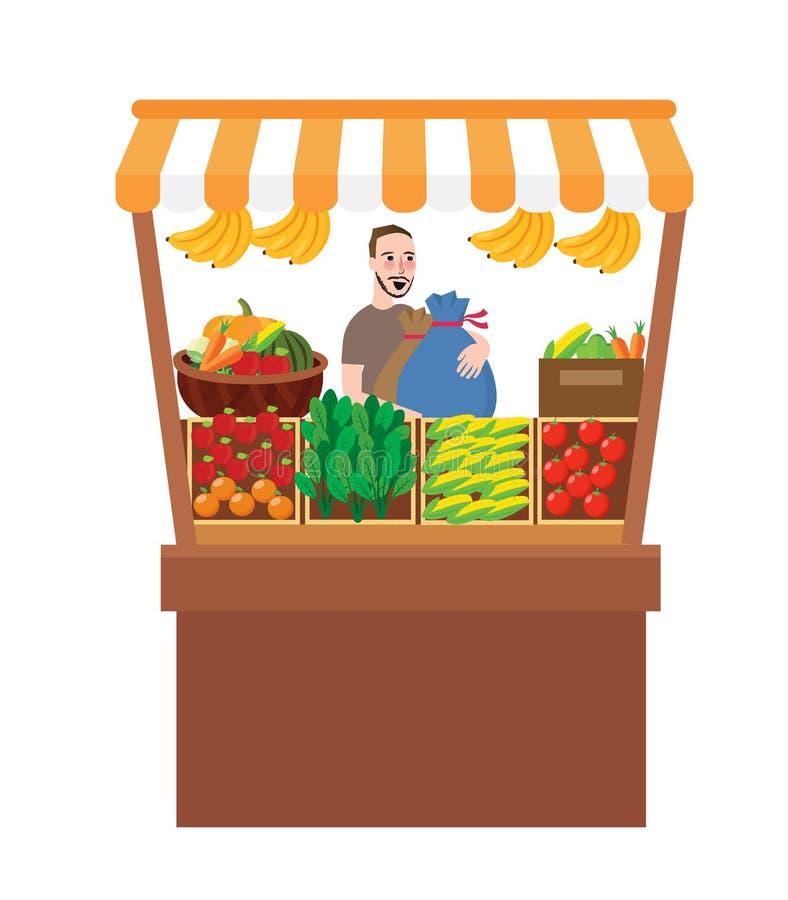 Homem que vende vegetais de frutos em produtos agrícolas do mercado de produto fresco do suporte da tenda ilustração royalty free