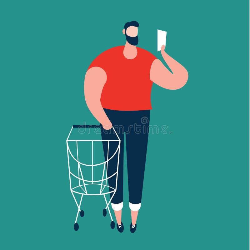 Homem que verifica a lista de compra e que leva o trole de compra no supermercado ilustração royalty free