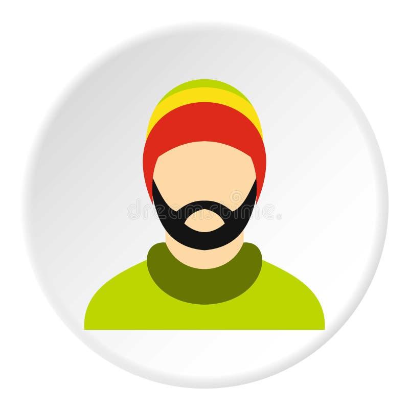 Homem que veste o círculo rastafarian do ícone do chapéu ilustração royalty free