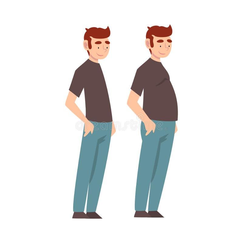 Homem que veste a roupa ocasional antes e depois da perda de peso, do corpo masculino que mudam com a nutrição saudável ou do vet ilustração do vetor