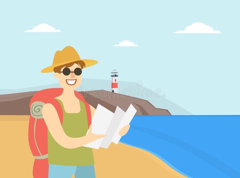 Homem que viaja com trouxa, a rota masculina do planeamento de turista com mapa, o curso, as férias, e o vetor da aventura do ver ilustração royalty free