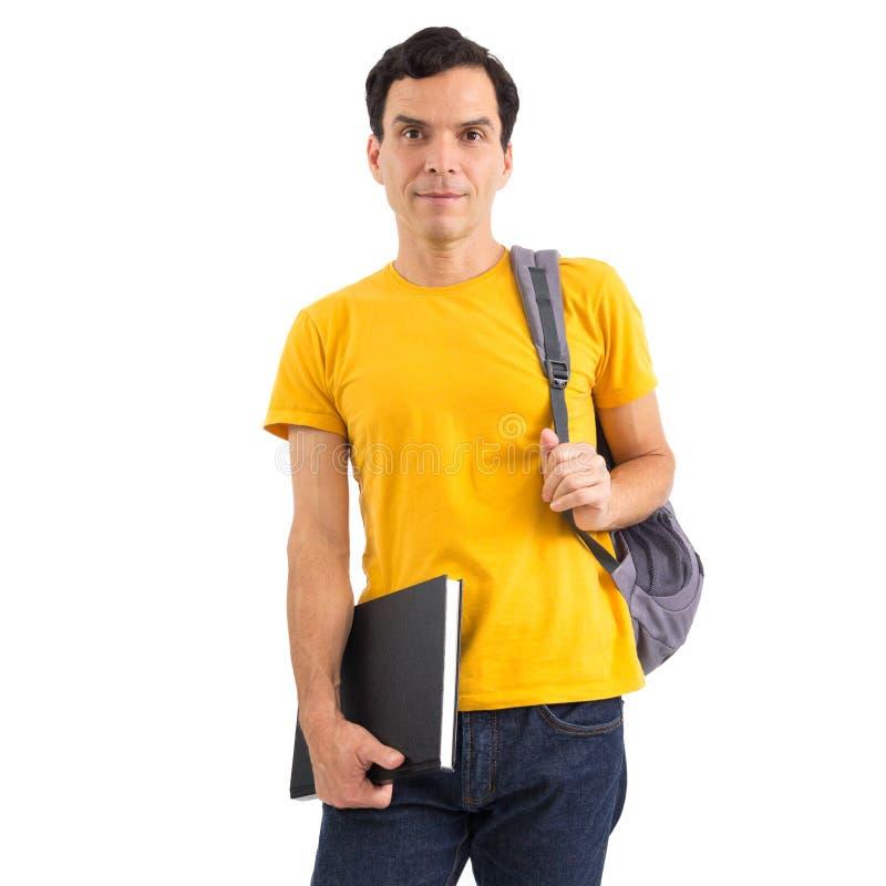Homem que volta da classe estudante Grupo do ponto morto Ele ` s em seu fe imagens de stock