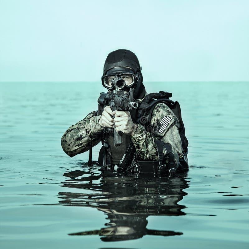 Homem-rã do SELO da marinha imagens de stock