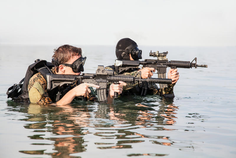 Homem-rãs do SELO da marinha foto de stock royalty free