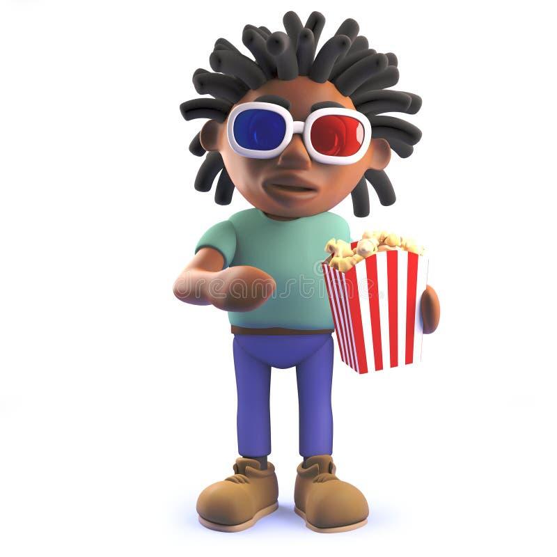 Homem rastafarian africano dos desenhos animados em 3d que come a pipoca e que veste os vidros 3d ilustração stock