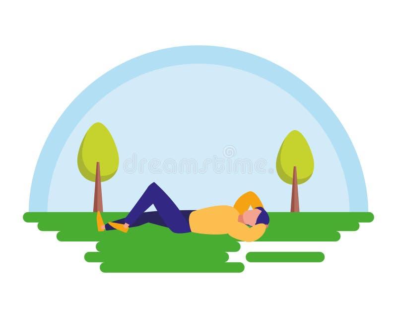 Homem relaxado na paisagem ilustração royalty free