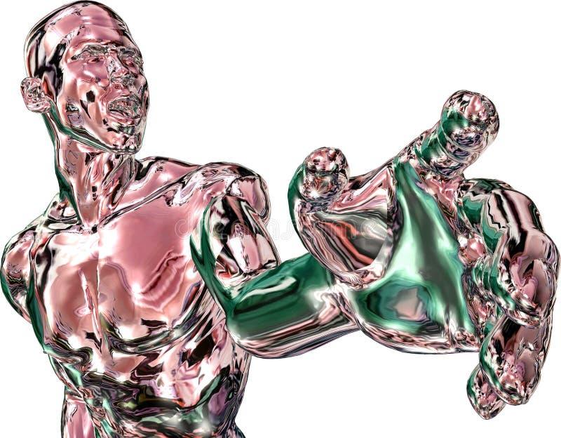 Homem rendido na prata-chr vermelha ilustração do vetor