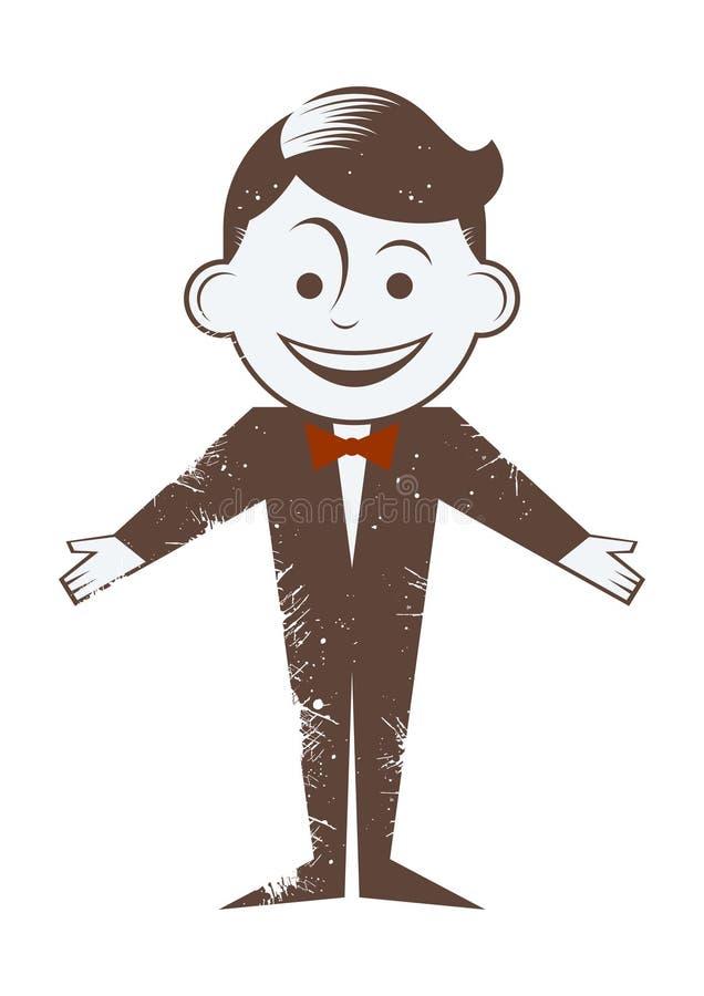 Homem retro dos desenhos animados com laço ilustração royalty free