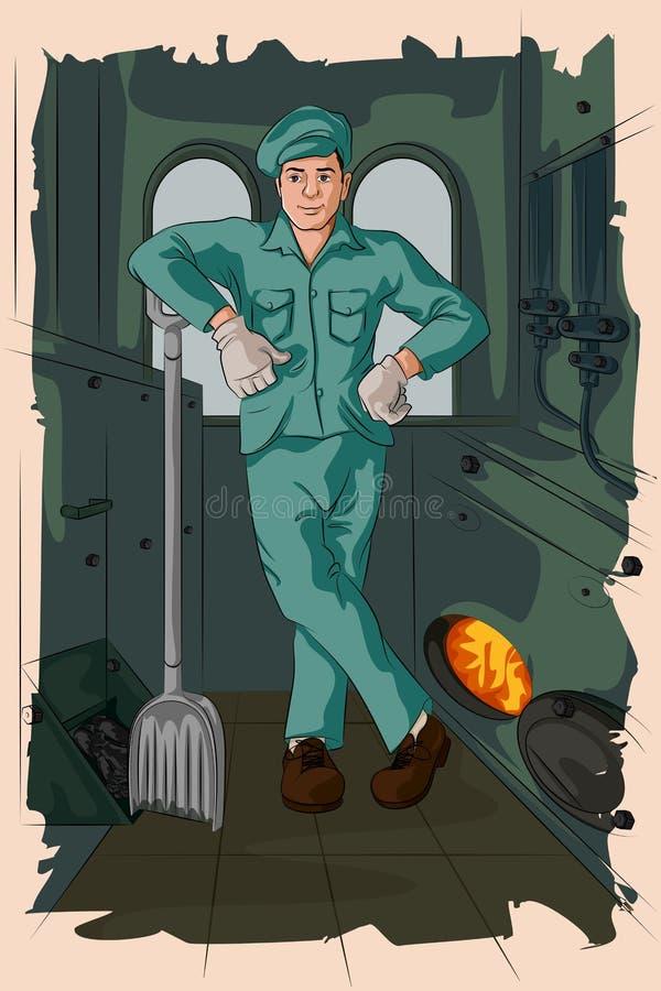 Homem retro que abastece o motor de vapor ilustração stock