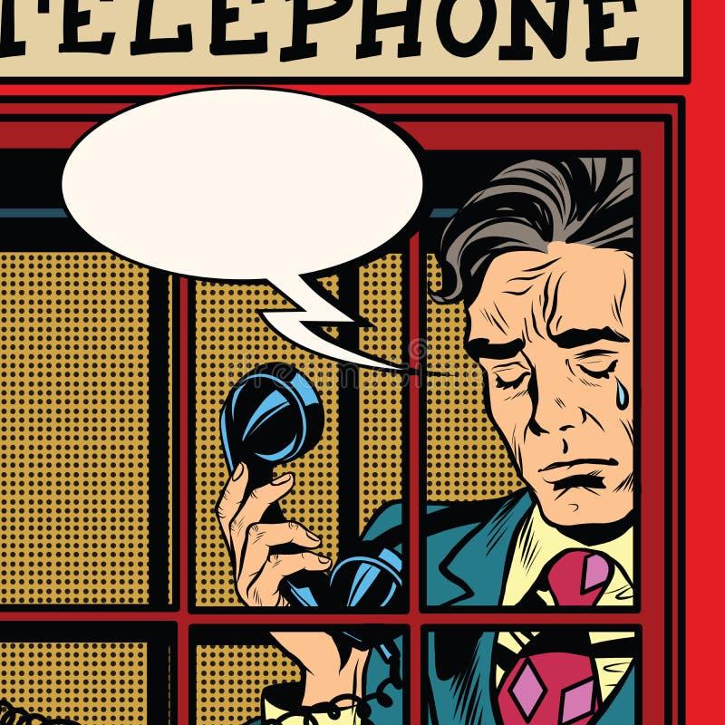 Homem retro que grita na cabine de telefone vermelha ilustração royalty free