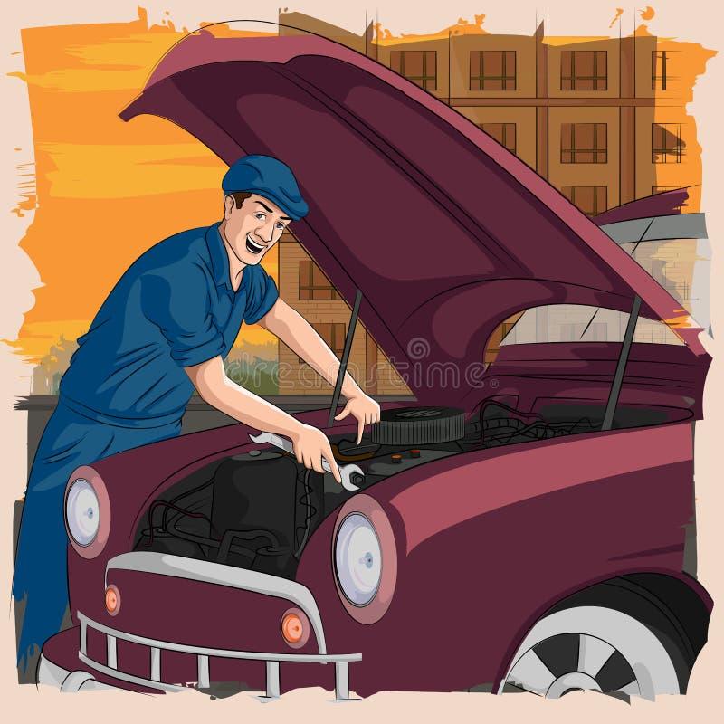 Homem retro que repara o carro na garagem ilustração stock