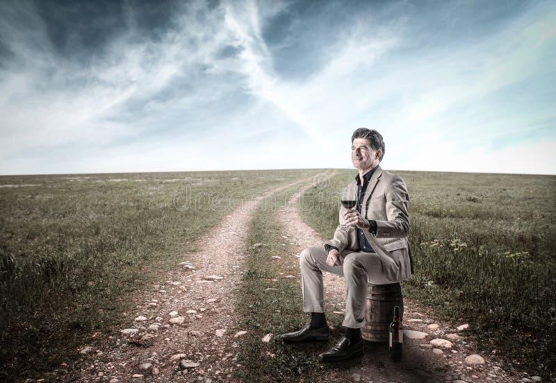 Homem rico elegante em um campo com um vidro do vinho foto de stock royalty free