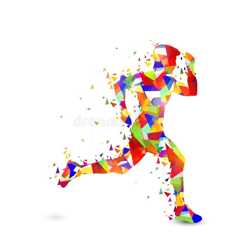 Homem running abstrato para o conceito dos esportes ilustração do vetor