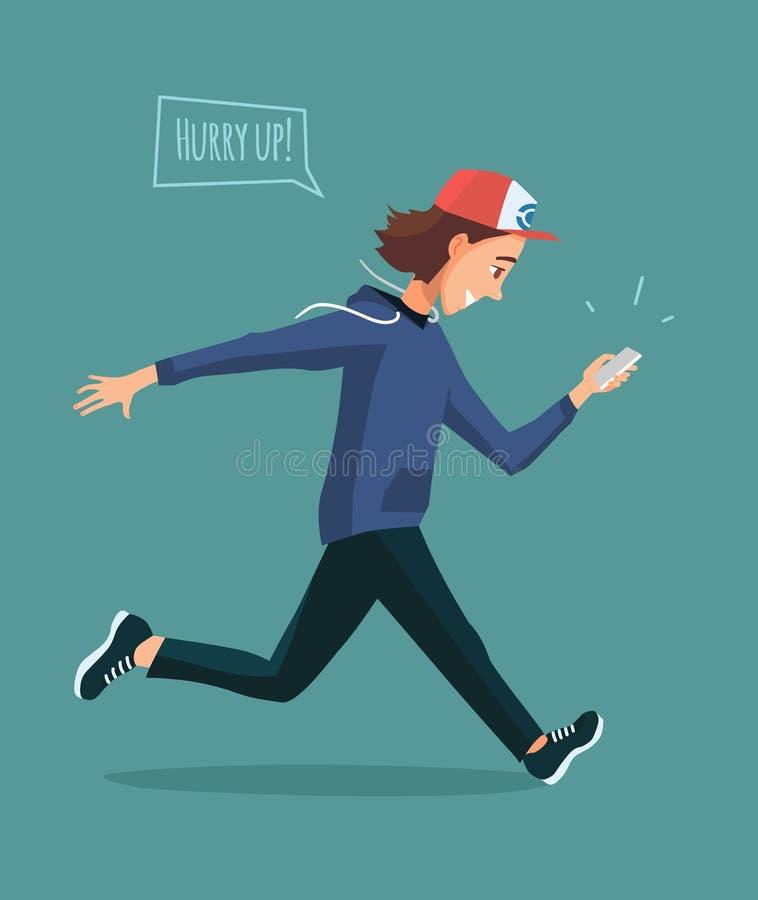 Homem running com telefone celular nas mãos Jogos do menino no jogo móvel ilustração stock