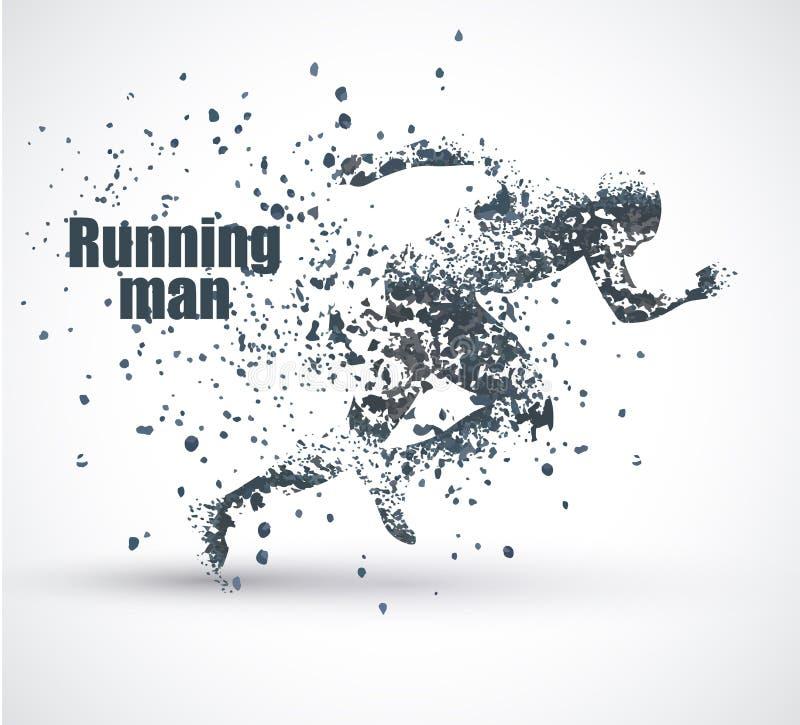 Homem running, composição divergente da partícula, ilustração do vetor ilustração royalty free