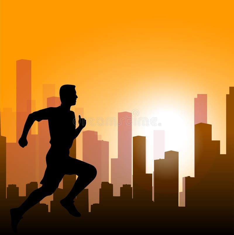 Homem running contra a cidade silhueta do velocista ilustração do vetor