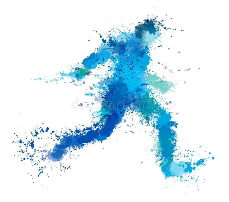 Homem running do vetor, arte finala do respingo ilustração stock