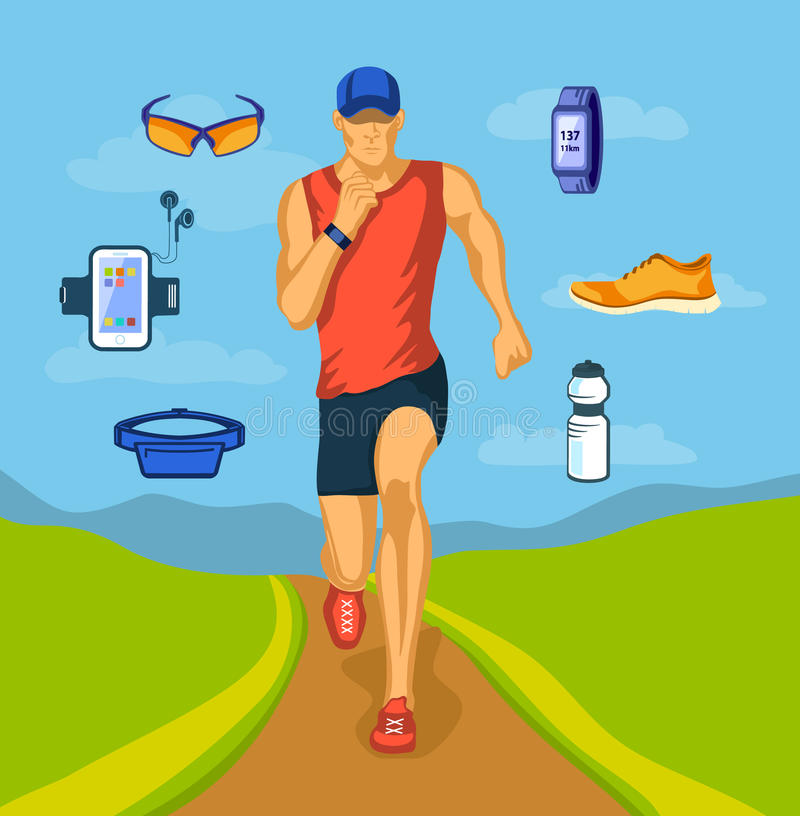 Homem running e engrenagem running ilustração royalty free