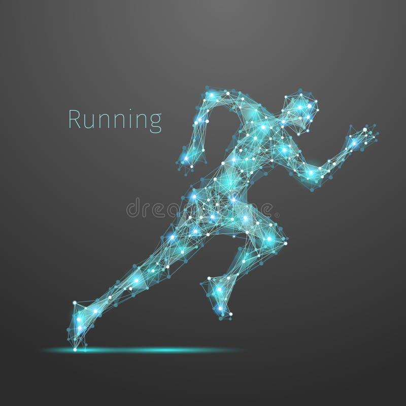 Homem running poligonal ilustração royalty free