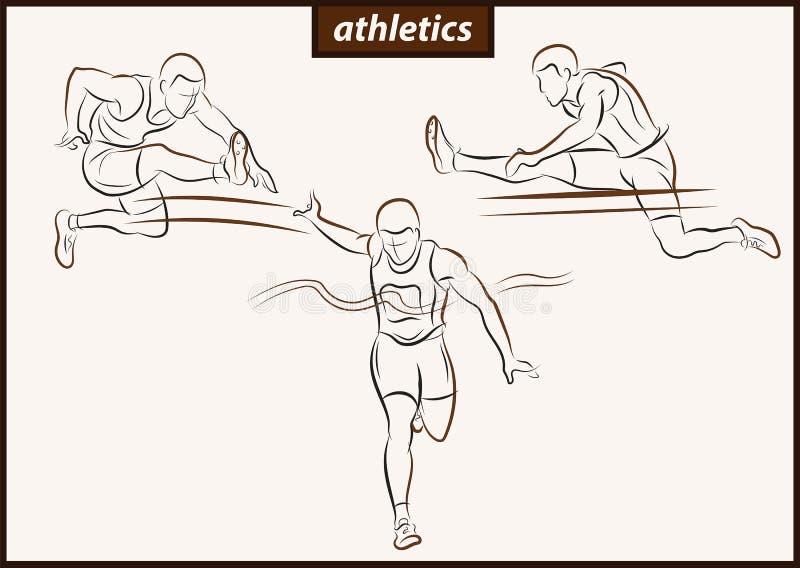 Homem Running Raça de obstáculo athletics ilustração do vetor