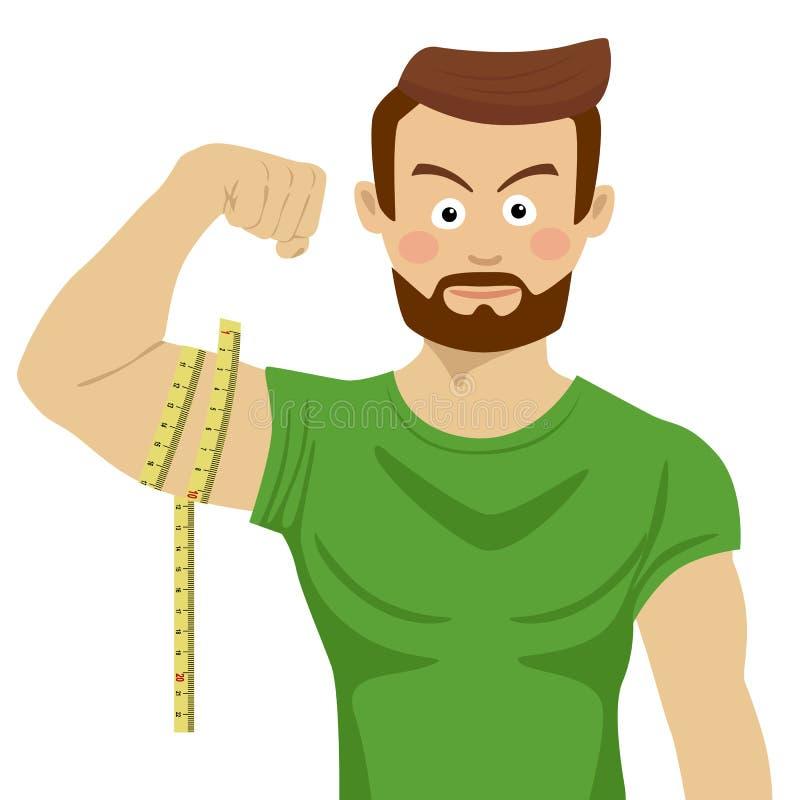 Homem sério atrativo do ajuste que dobra seu bíceps e que mede o com fita-linha ilustração royalty free