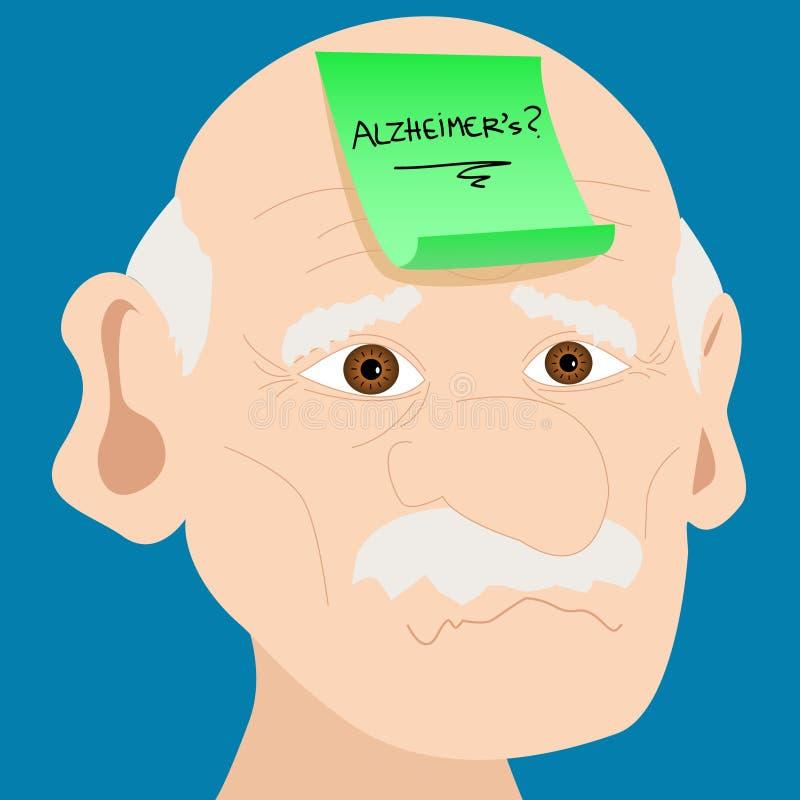 Homem sênior com nota pegajosa de Alzheimer ilustração royalty free