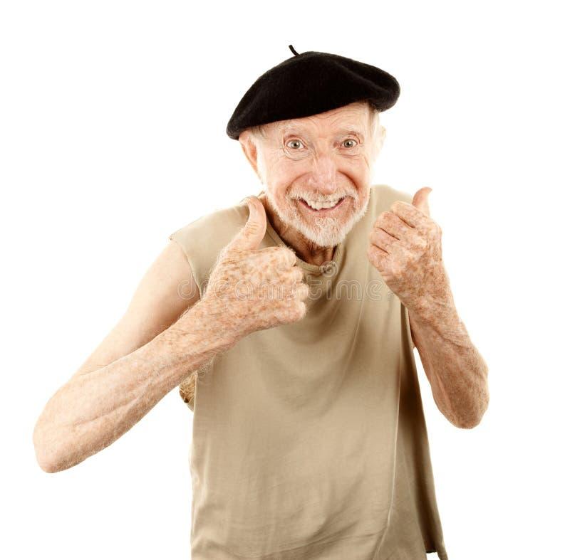 Homem sênior na boina imagem de stock royalty free