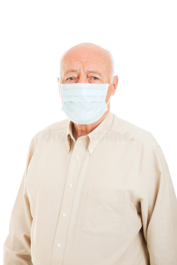 Homem sênior - proteção da gripe imagem de stock