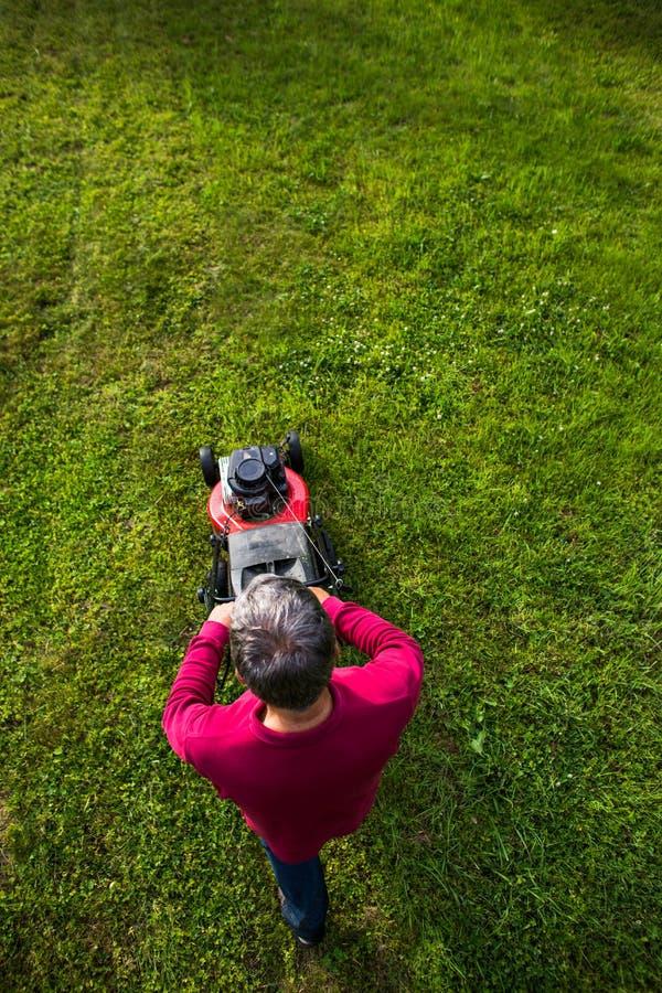 Homem sênior que sega o gramado foto de stock royalty free