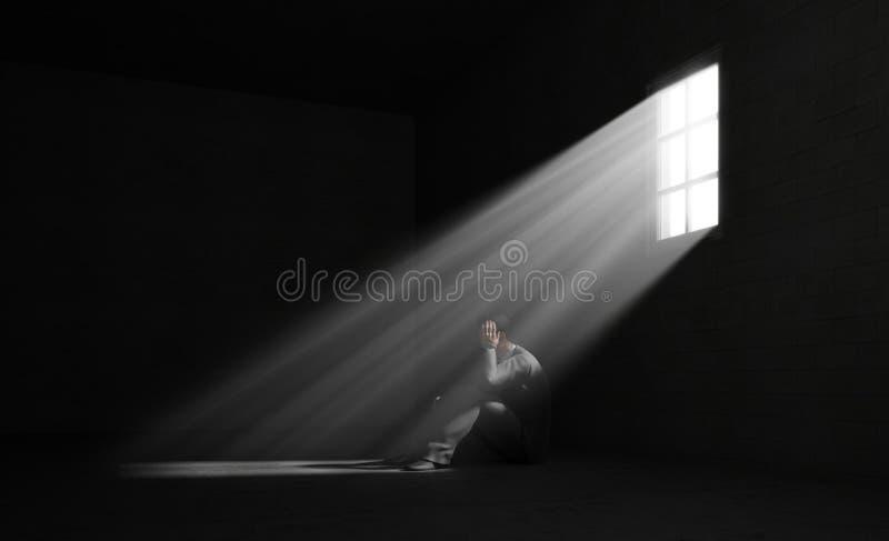 Homem só em uma sala escura ilustração do vetor