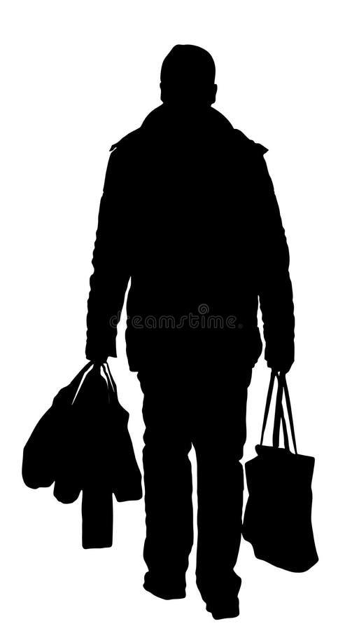 Homem só que faz compras na mercearia diárias no alimento da compra do supermercado e em uns outros bens, silhueta do vetor ilustração stock
