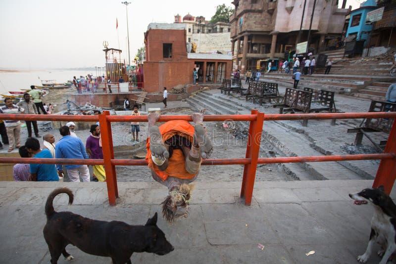 Homem santamente de Sadhu ou de babá nos ghats de Ganges River Normalmente um sadhu é uma monge, apreciação material renunciada,  fotografia de stock