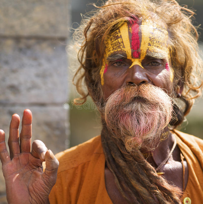 Homem santamente Kathmandu de Sadhu fotografia de stock royalty free
