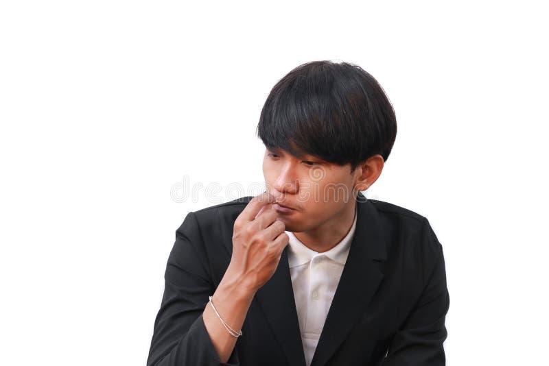 Homem seus dentes limpos com um palito no fundo branco fotografia de stock