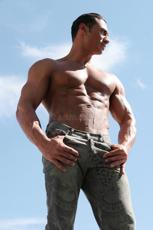 Homem 'sexy' nas calças de brim fotos de stock royalty free