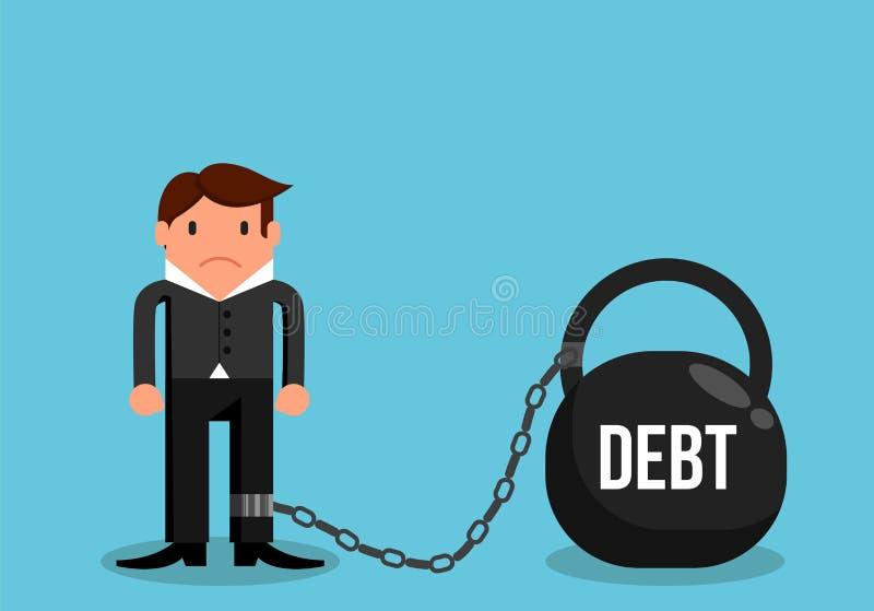Homem simples no débito limitado ao projeto liso pesado ilustração royalty free