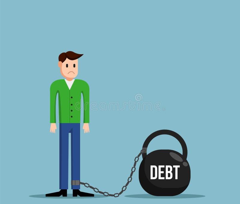 Homem simples no débito limitado ao projeto liso pesado ilustração do vetor
