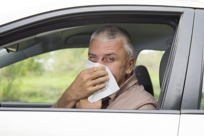 Homem Sneezing no carro imagens de stock royalty free