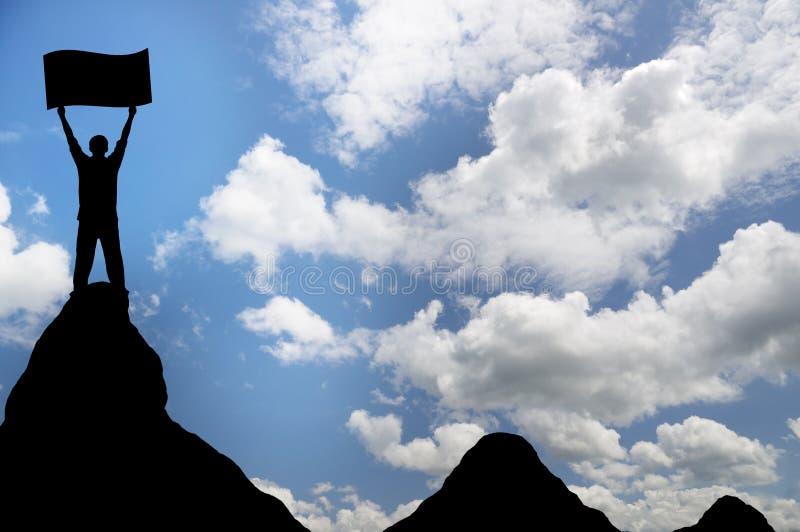 Homem sobre a montanha. ilustração royalty free