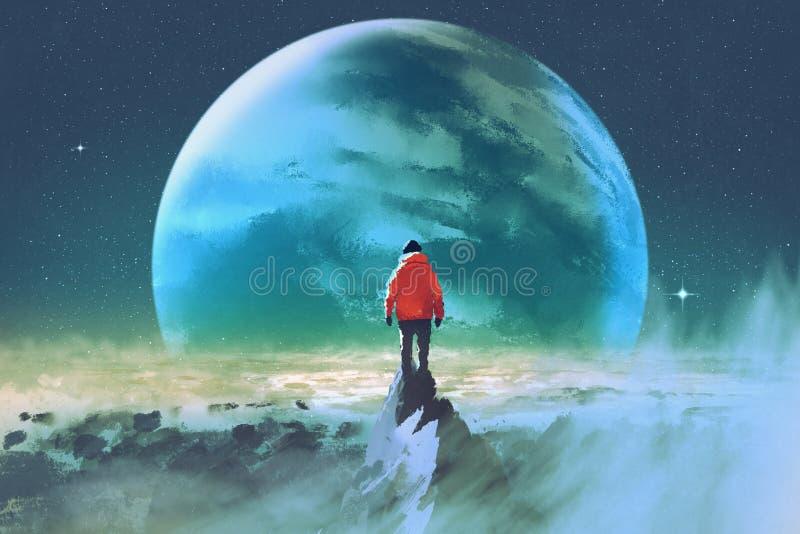 Homem sobre a montanha que olha um outro planeta ilustração royalty free