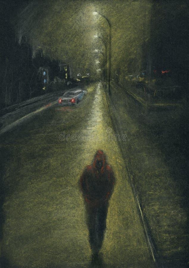 Homem solitário na estrada de cidade da noite foto de stock